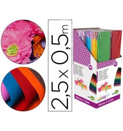 Papier crêpe LEADERPAPER 050X250 MT ENCELOFANADO-DISPLAY 80 pièces couleurs assorties