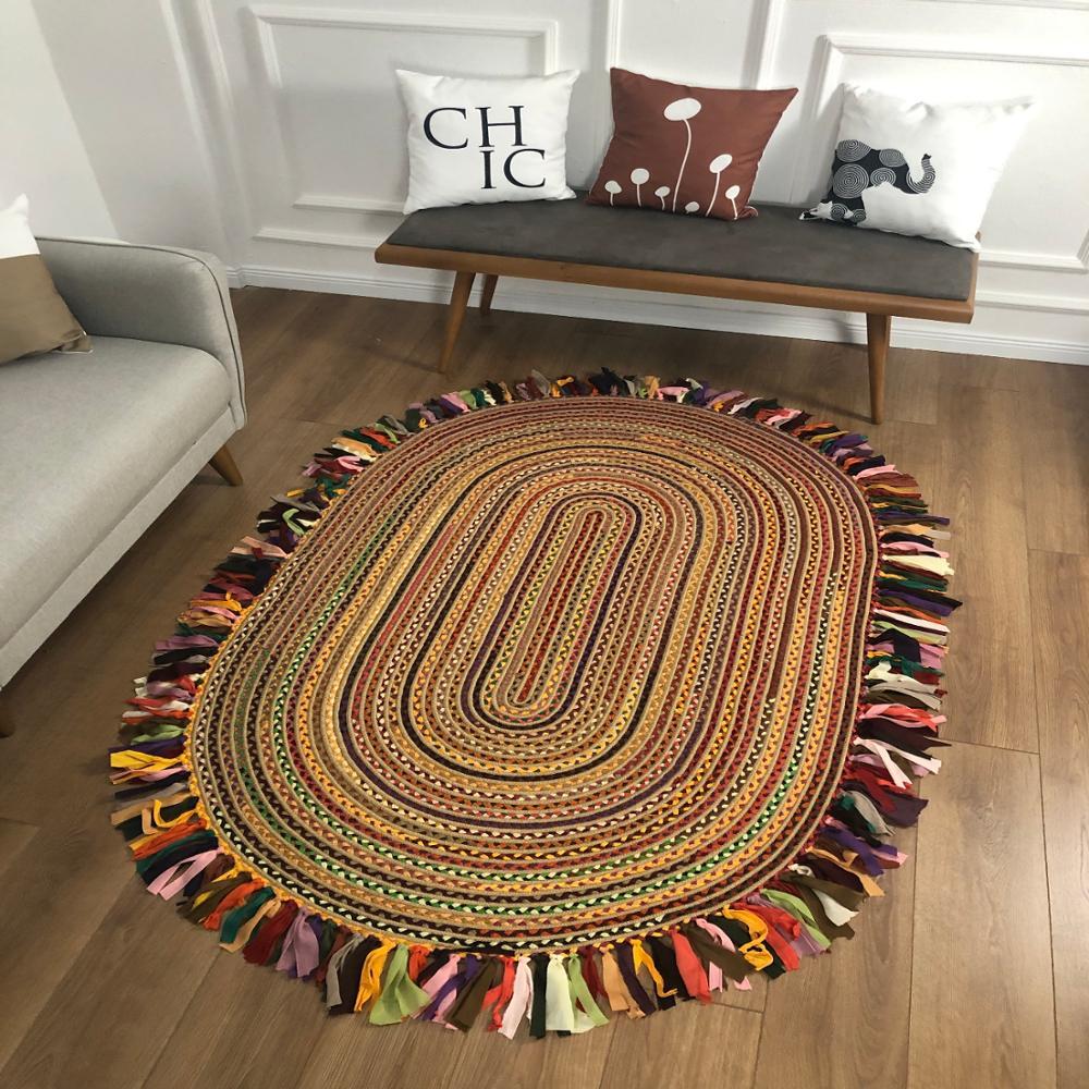 Else Natural Organic Jute Carpet Sisal Natural Fiber Collection Hand Woven Jute Area Rug For Home Living Room Floor Carpet