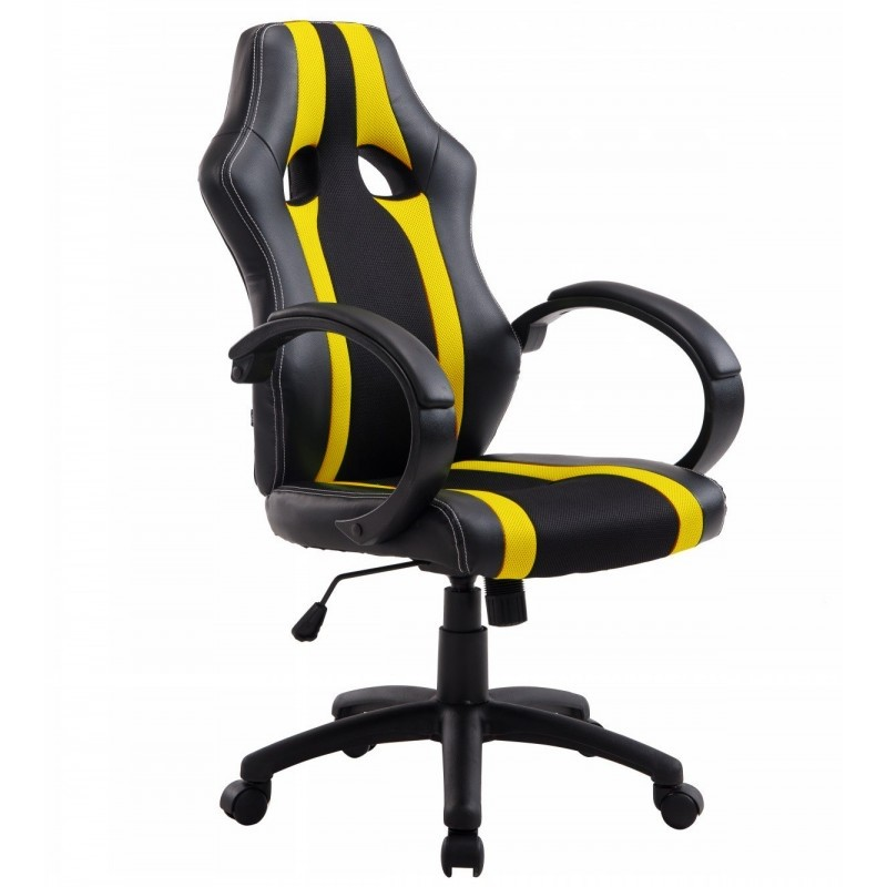 Office Armchair SILVERSTONE High, Gas, Tilt, Similpiel Black Fabric Yellow