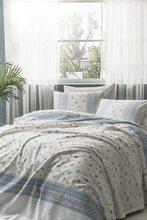 TAÇ Single Blue Pique Set Lalita- 100% Cotton Color: Blue Pike: 160x230 cm Fitted Bed Sheet: 100x200 cm Pillow Case: 50x70 cm