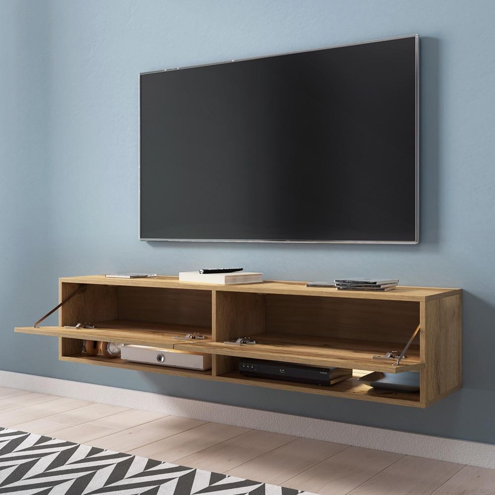 Selsey WANDER -  meuble TV moderne (140 cm/chêne wotan, avec LED) 2