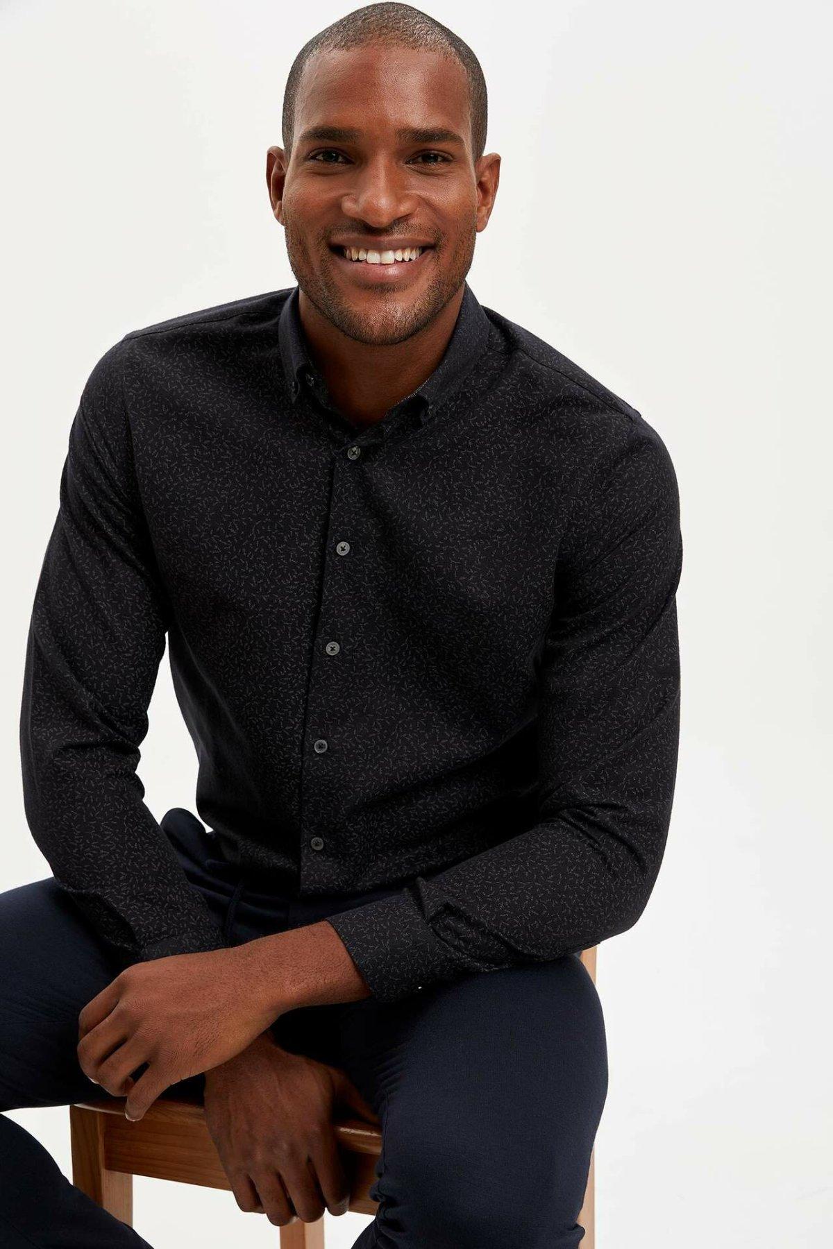 DeFacto Business Black Shirts Dark Prints Men Top Shirts Casual Smart Man Long Sleeve Shirt Professional Wear-M2944AZ19WN