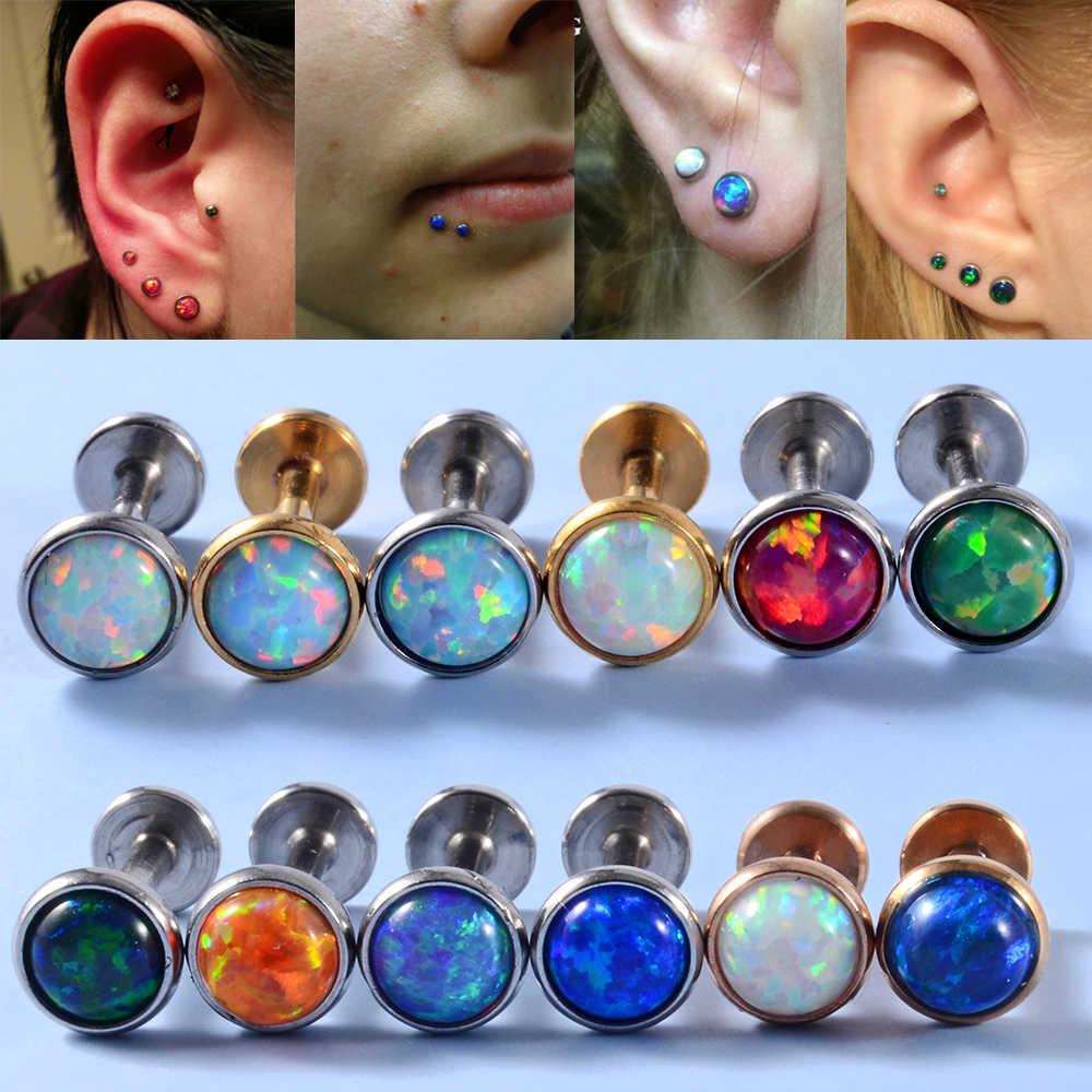 Pair lip Stud ear bone cartilage tragus nose Body Piercing Stainless Steel punk