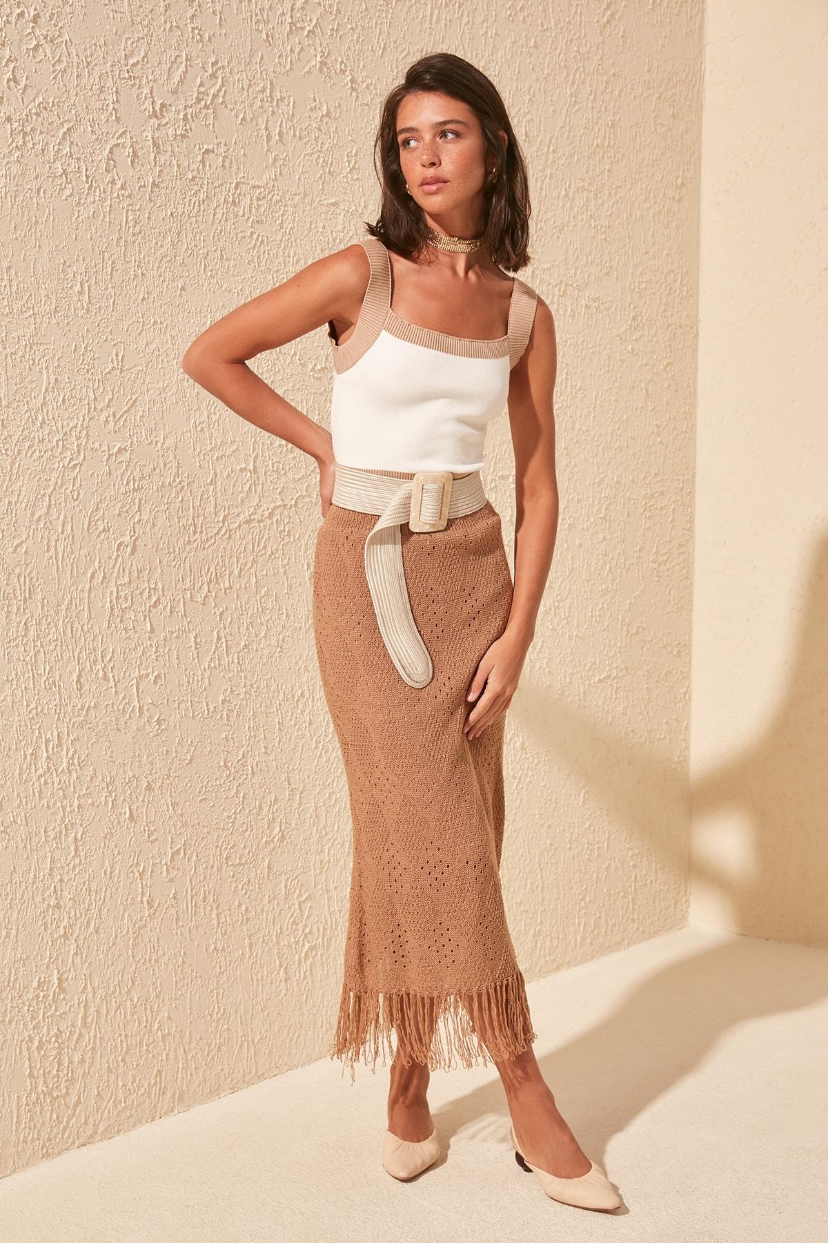 Trendyol Cellular Knitwear Skirt TWOSS20ET0283