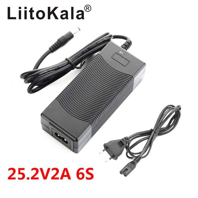 LiitoKala 고품질 25.2V 2A 배터리 팩 충전기 전기 자동차 전용 충전기 24V 2A 폴리머 리튬 18650 충전기