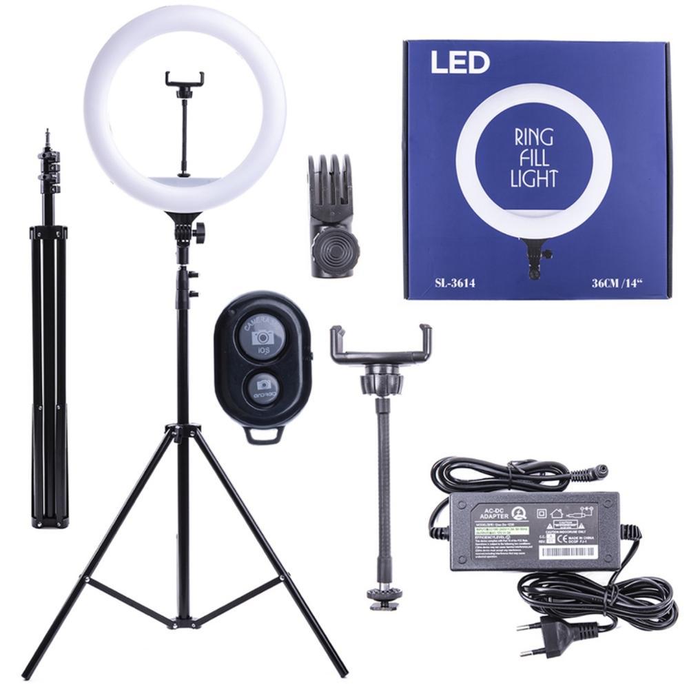 Кольцевая светодиодная лампа SL 36 Blue. Диаметр 36 см. С Bluetooth пультом управления. На металлическом штативе. Регулировка шт|Макро- и кольцевые светильники| | АлиЭкспресс