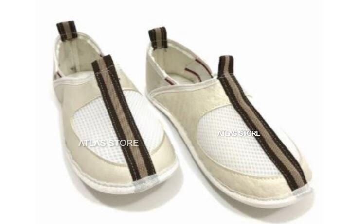 Isra White Leather Tawaf Shoes
