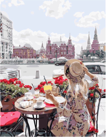 Painting By Numbers PK 48005 In A Cafe On A Red Square 40*50