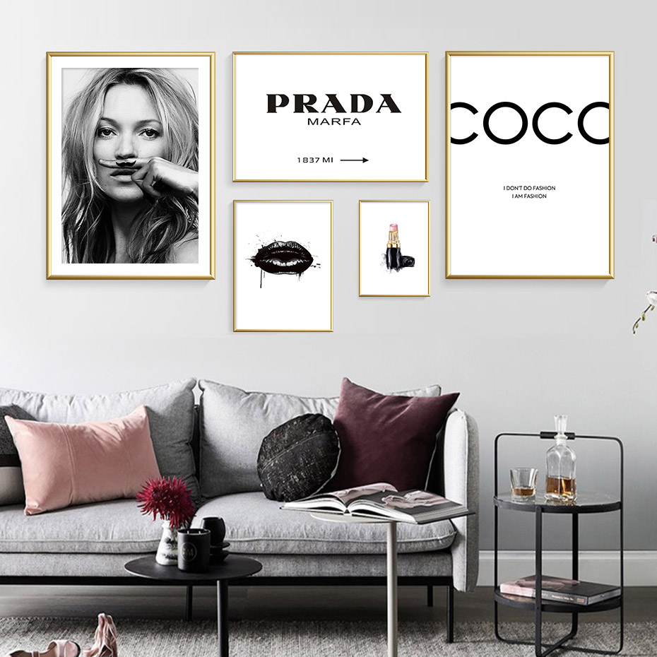 Abstract Modern Fashion Make Up Canvas Painting Black White Salon Posters Prints Nordic Wall Art Pictures Abstract Modern Fashion Make Up Canvas Painting Black White Salon Posters Prints Nordic Wall Art Pictures Living Room Home Decor
