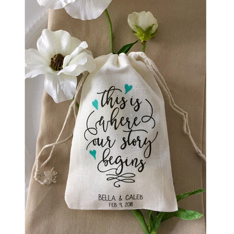 Personalized Cotton Wedding Party Bags 10pcs This Is Where Our Story Begins Engagement Welcome Drawstring Bags Bridal Treat Bag