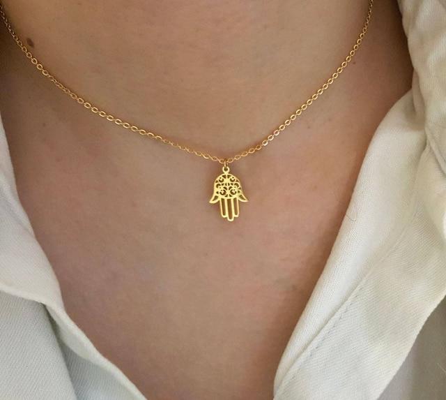 Arabic Soy Luna Hamsa Hand Pendant Necklace Women Men Amulet Stainless Steel Gold Color Hand of Fatima Choker Islamic Jewelry