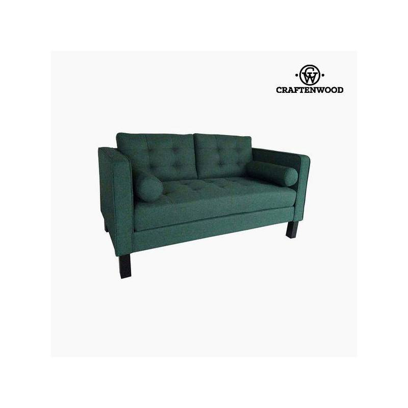 2 Seater Sofa Pine Wood Green Polyester (149x81x81 Cm) By Craftenwood