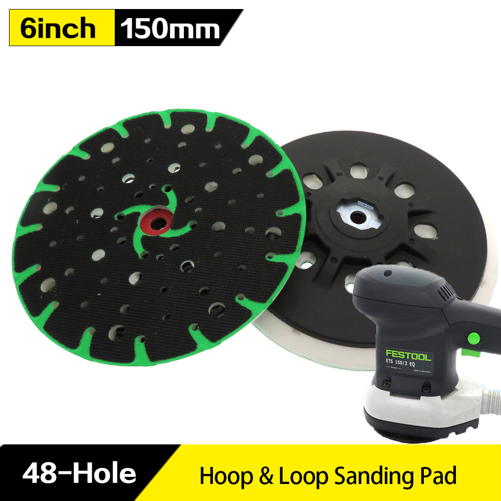 6 Inch 48-Hole  Back-up Sanding Pad M8 Thread For Hook And Loop Sanding Disc Dust Free Grinding Pads For Festool Sander