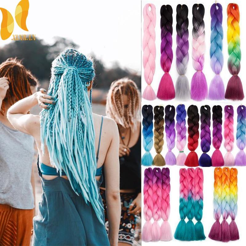 XINRAN 24inch Synthetic Crochet Hair Jumbo Braid Hair Soft Pink Hair Ombre Crochet Braiding Hair Extension For Braid
