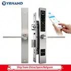 Cerradura de puerta de huella digital biométrica europea a prueba de agua cerradura de puerta inteligente electrónica cerradura de código de tarjeta RFID para puerta de vidrio de aluminio