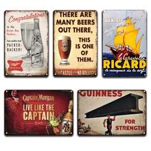 RICARD Guinness Beer Metal Wall Art Tin Sign VIntage Bacardi Captain Morgan Metal Poster Sign Pub Bar Kitchen Cafe Home Decor