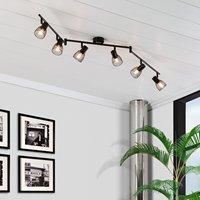 Lâmpada de teto grade orientável 6 luzes holofotes preto|Luzes de teto| |  -