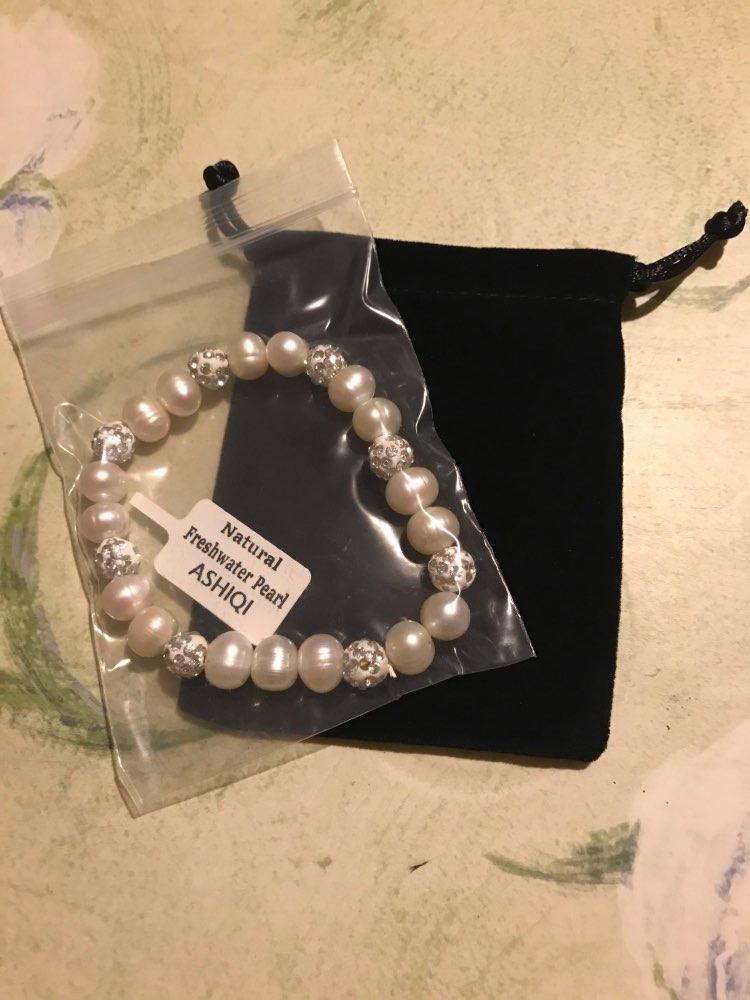 ASHIQI véritables Bracelets de perles d'eau douce naturelles