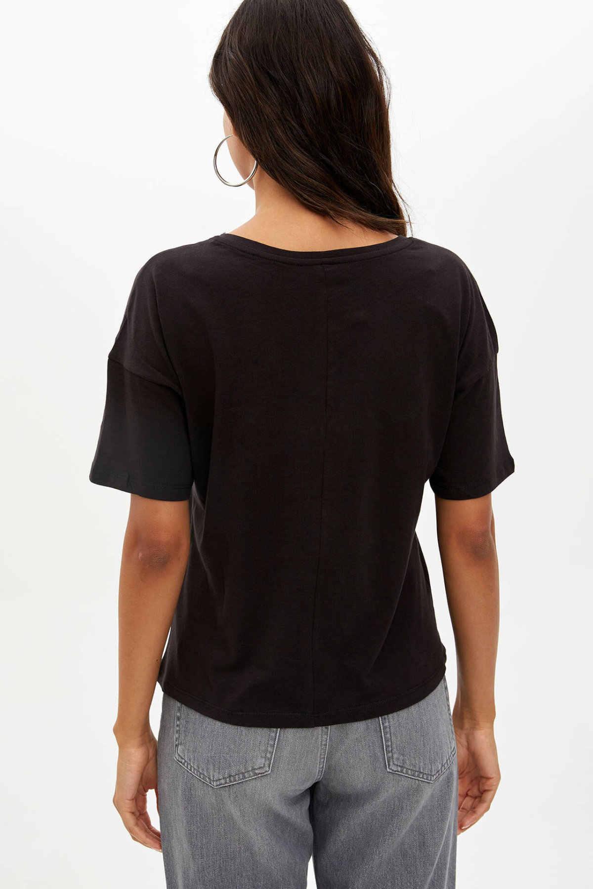 Defacto Musim Panas Wanita Lengan Pendek Leher O Surat Pola T-shirt Wanita Kualitas Tinggi Nyaman T-shirt Baru-L1873AZ19AU
