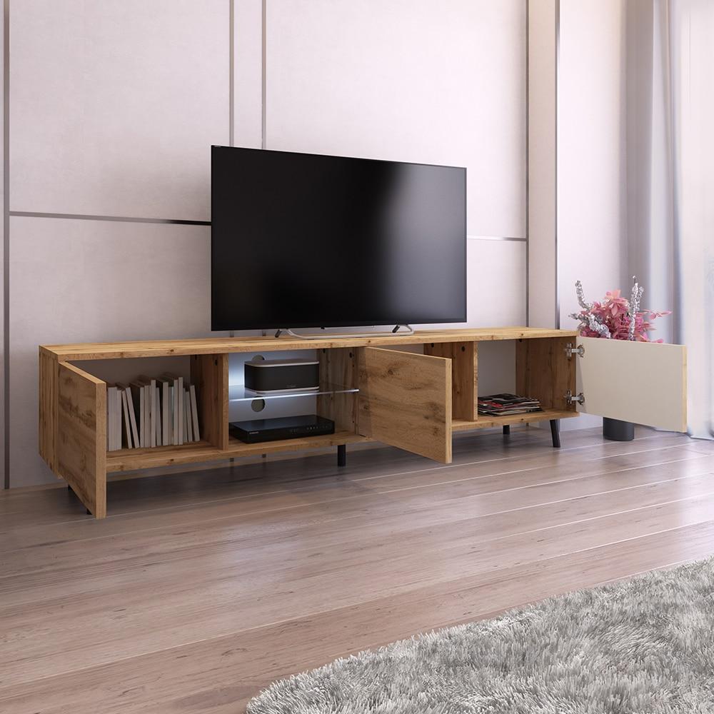 SELSEY GALHAD - Meuble tv / Meuble de salon - 175 cm - chêne wotan 2