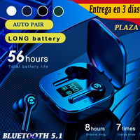 ES12-auriculares inalámbricos con Bluetooth V5.1, dispositivo de audio con 56 horas de batería, estéreo HIFI, llamada con micrófono, tipo C, USB, carga rápida