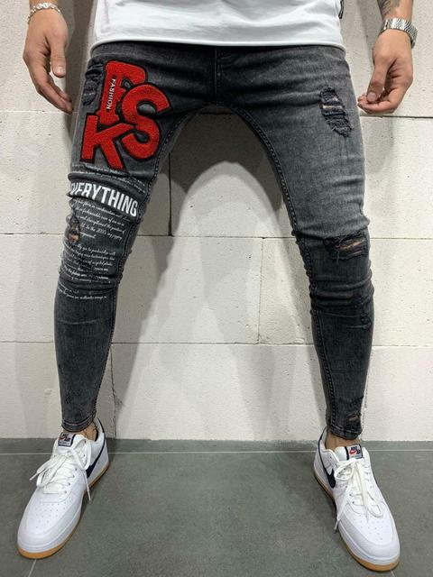 Appositamente chitarra scarafaggio  Hot Discount #100a3f - Black Denim Distressed PSK Fashion Streetwear Slim  Fit Denim Jeans | Cicig.co