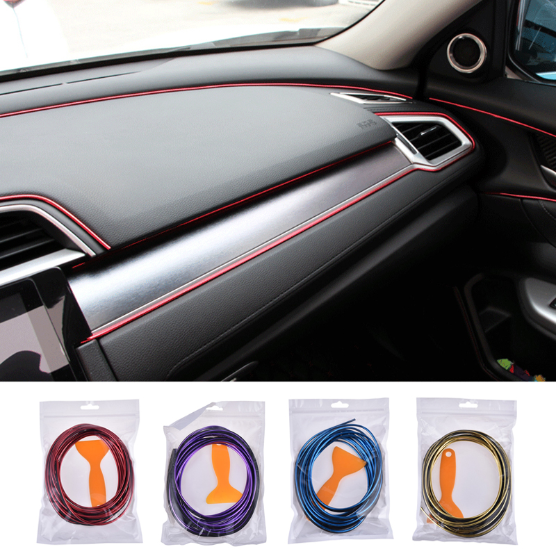 5M Car Interior Decorative Line Bright Mouldings Trims Decoration Strips Door Dashboard Air Outlet Decorative Auto Accessories