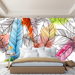 3D wall mural multicolored feathers abstraction, wallpaper on the wall, for Hall, kitchen, bedroom, nursery, wall mural expanding space