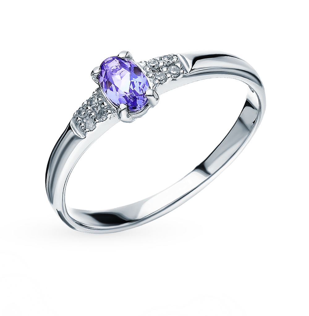 Gold Ring With Tanzanite And Diamond SUNLIGHT Test 585