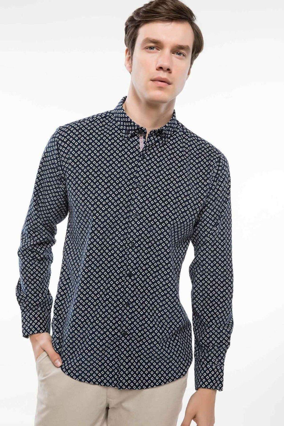 DeFacto Fashion Men Formal Long Sleeve Shirt Male Casual Comfort Blouser Men's Leisure Loose Dot Shirts Autumn - I9291AZ18WN