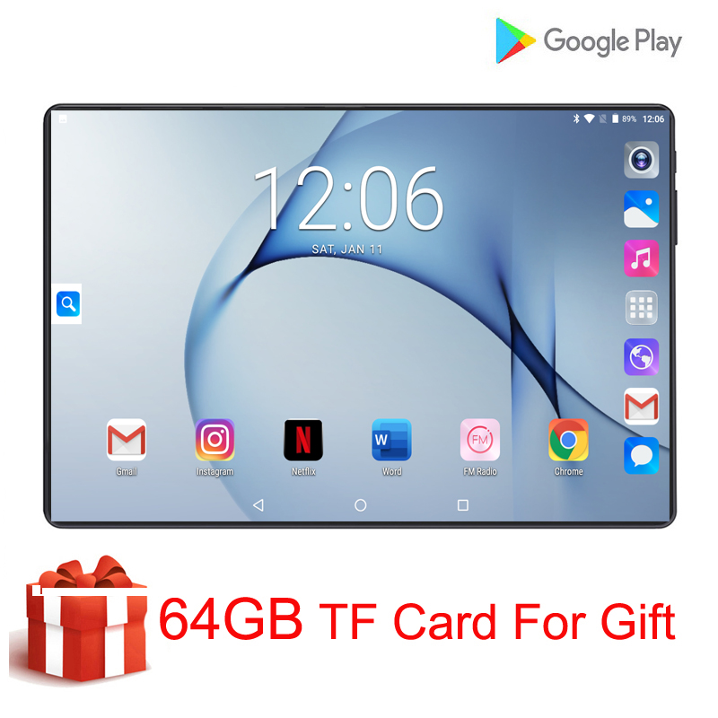 2020 New Original 10 Inch Tablet PC 9 Android MTK8752 Octa Core 6GB RAM 128GB ROM 8MP Dual Camera Sim WIFI 4G LTE Tablets 10.1