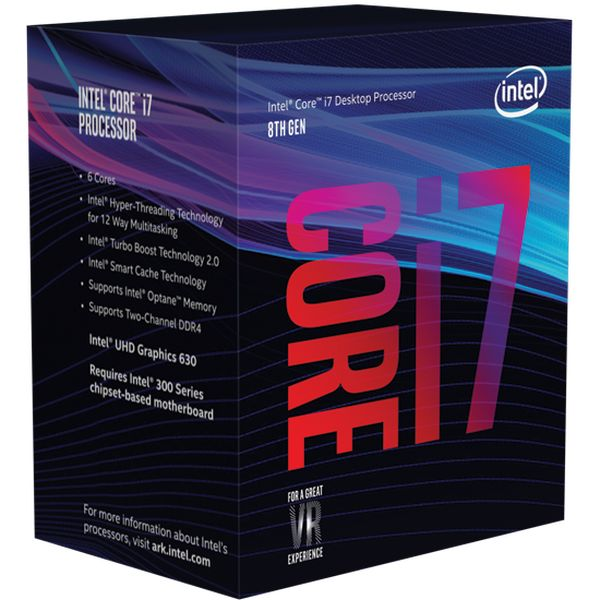 CPU Intel I7 8700 K Socket 1151 3.7 GHz Coffe Lake 8ªgn 12 MB Cache IGPU 95wat 64 Bit (no Fan)
