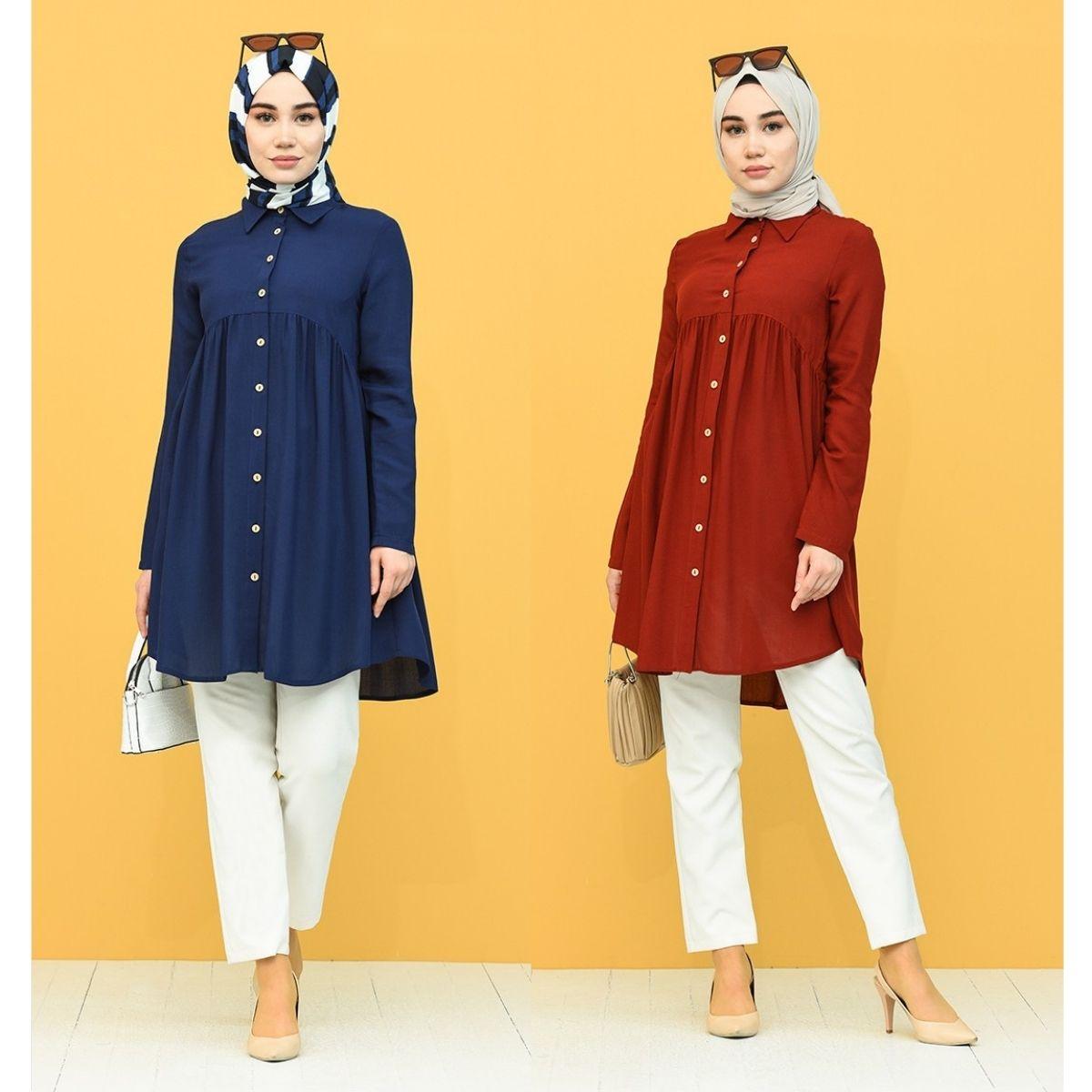Gathered Buttons Tunic Unlined Long Sleeve Shirt Collar Seasonal Casual Women Muslim Fashion Hijab Wears Casual Stylish Elegants