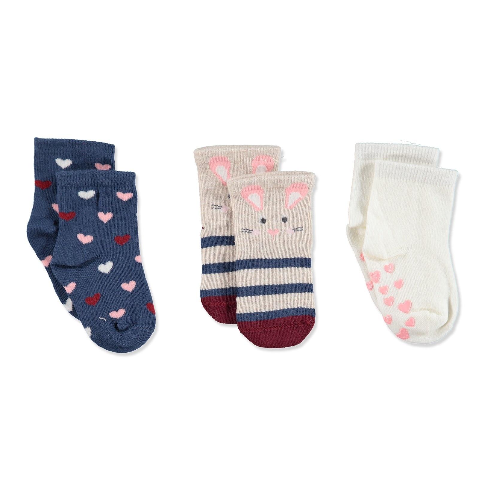 Ebebek Step 3 Pack Baby Socks Six Printed Rabbit
