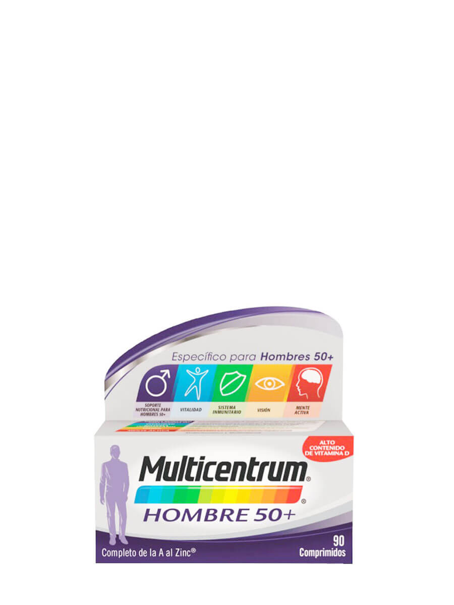 Multicentrum man 50 + 90 food supplement tablets for men + 50 years old.