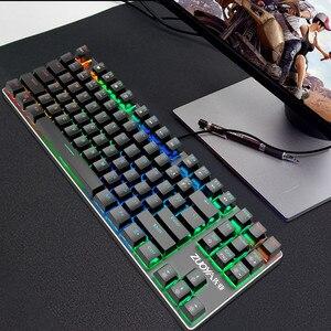 Image 4 - Oyun mekanik klavye mavi kırmızı anahtarı 87key Anti ghosting RGB/Mix arkadan aydınlatmalı LED USB RU/abd kablolu klavyesi PC Laptop