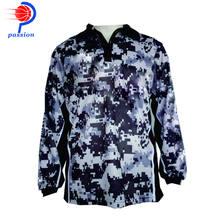 Black Grey White Camo Design UV Protection Fishing Shirts