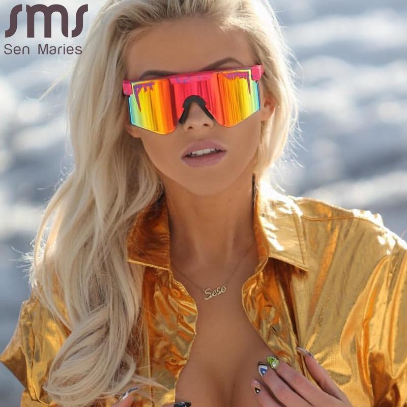 2021 Flat Top Goggle Sun Glasses Women Men Blue Frame Mirrored Lens Windproof Sport No Polarized Sunglasses For Men/Woman UV400 1