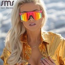 2021 Flat Top Goggle Sun Glasses Women Men Blue Frame Mirrored Lens Windproof Sport No Polarized Sunglasses For Men/Woman UV400