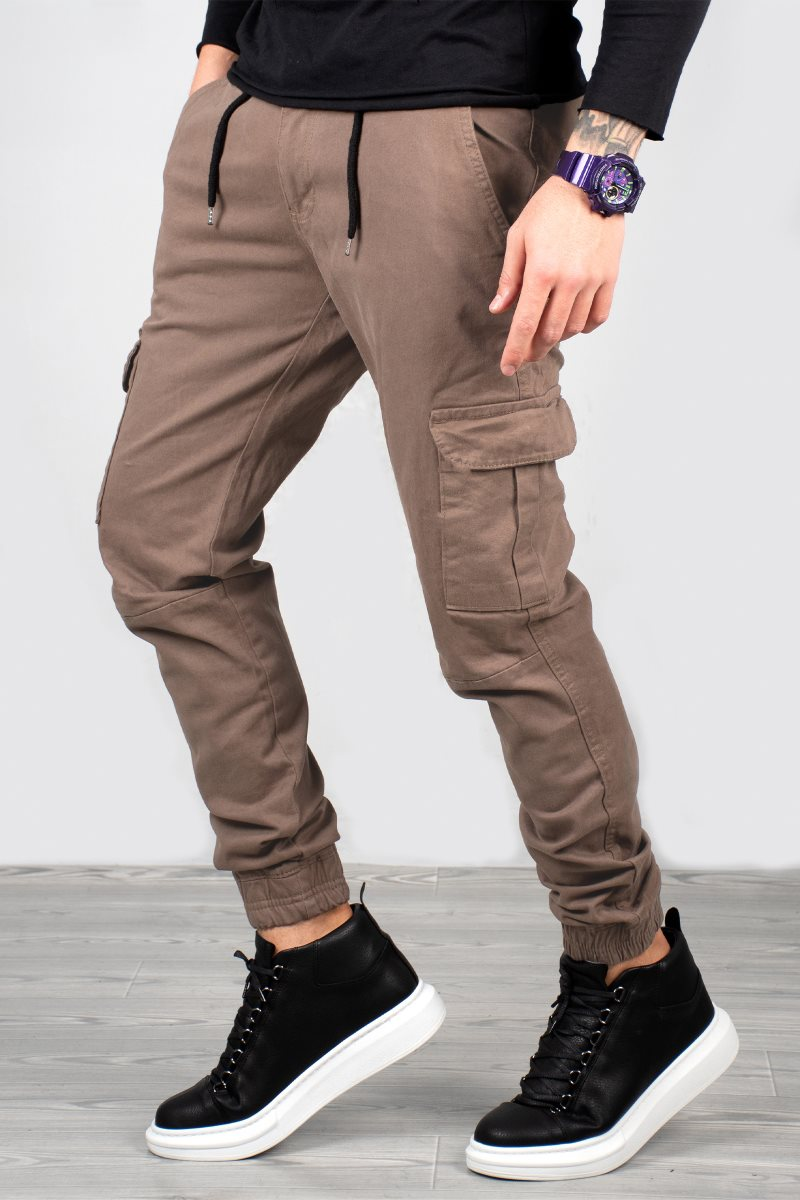 DeepSEA Male Camel Slim Fit Cargo Pants Bell-Bottomed and Elasticized Waist Military Tactical SWAT Harem Joggers Casual Street Wear 1601569