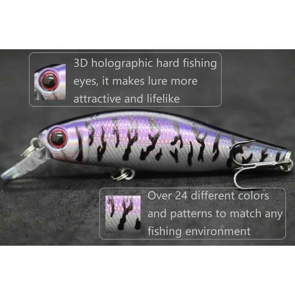 WLure 9g 8 centimetri 0.5 Metri di Profondità di 9 Colori da Scegliere 2 Nichel Nero #8 Ganci 3D Duro occhi Minnow Lure di Pesca M606