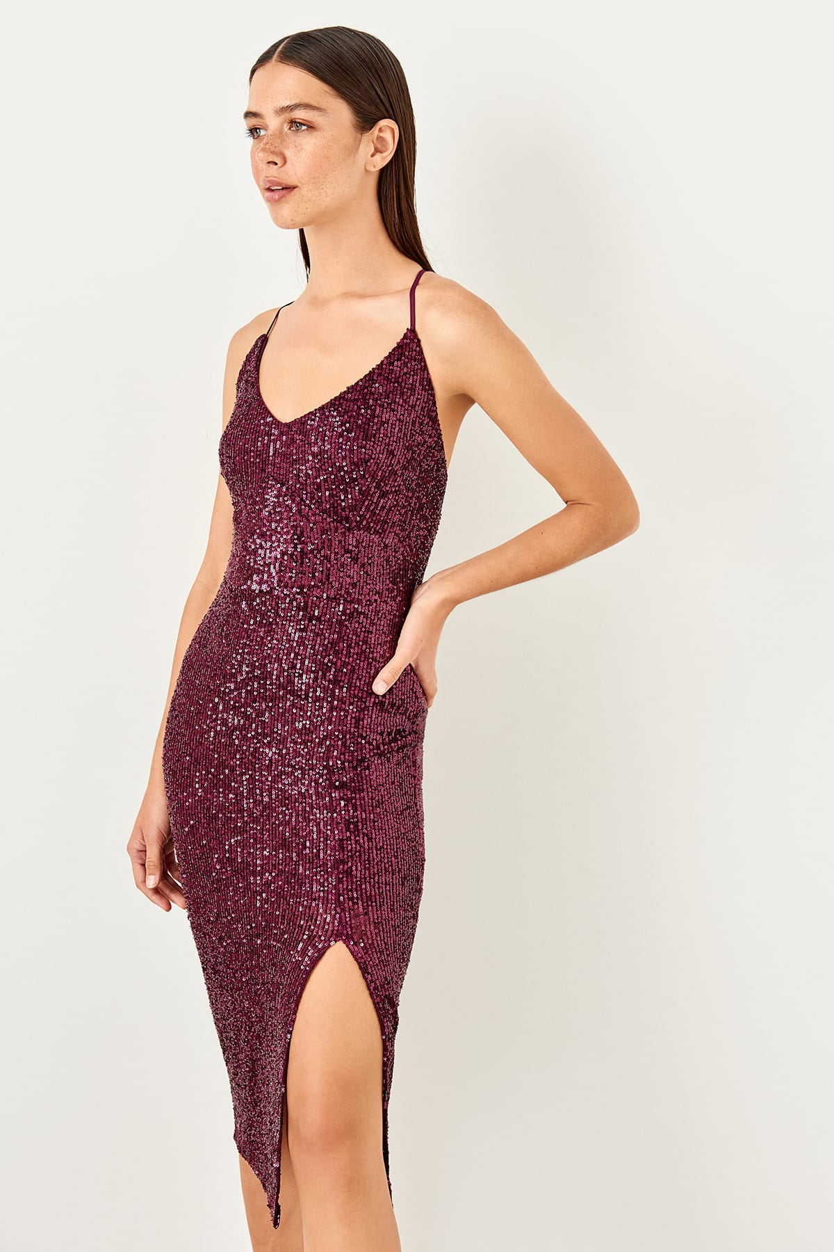 Trendyol Sequined Halter Evening Dress TPRSS19YL0024