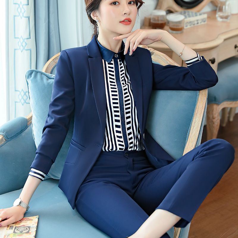 Lenshin 2 Piece Set Smooth Fabric Formal Pant Suit Blazer Office Lady Uniform Designs Women Business