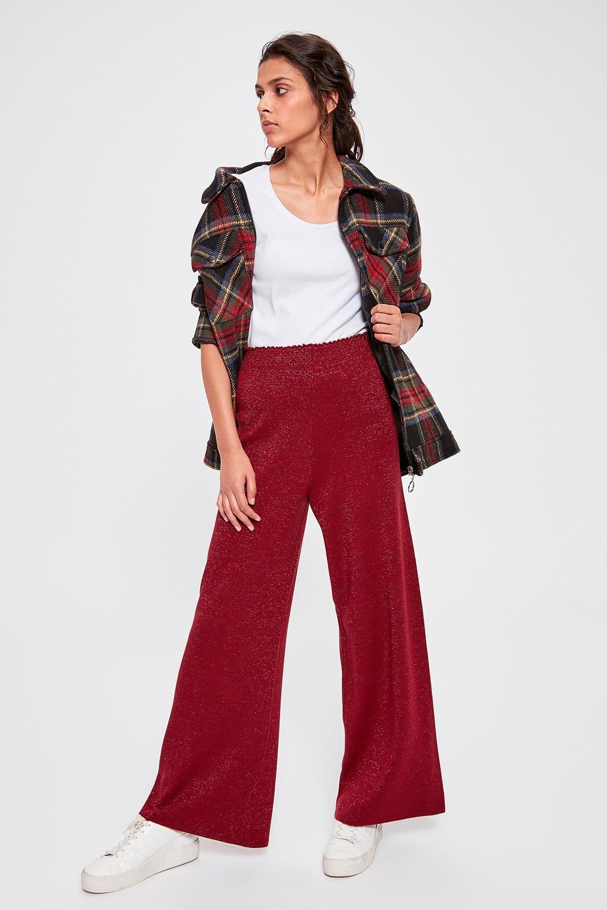 Trendyol Burgundy Silvery Sweater Pants TWOAW20PL0142
