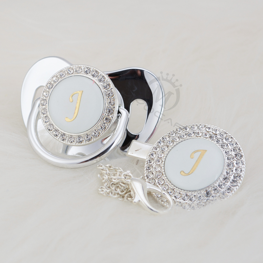 MIYOCAR Silver Bling Pacifier And Pacifier Clip Set Name Initials Letter J Unique BPA Free Dummy Bling Baby Shower Gift  LJ-1