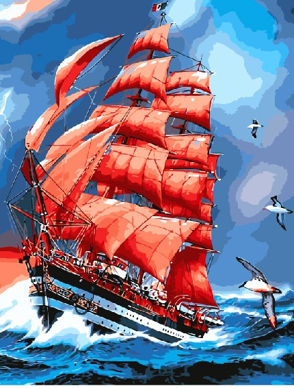 Painting By Numbers Scarlet Sails, 40x50 Cm