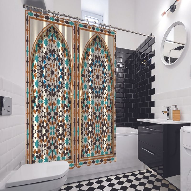 Arabic Arch Traditional Islamic Architecture Classic Exterior Decorating Element Brown Blue White Shower Curtain