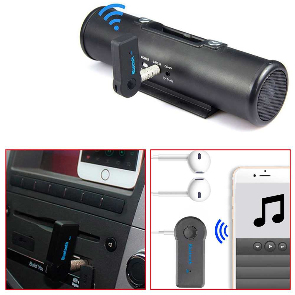 Receptor De Audio Inalámbrico Bluetooth 3.0 Jack 3.5mm Manos Libres Coche Negro BT Wireless Adapter Bateria JackAux