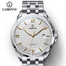 LOBINNI Top Brand Luxury Business Stainless Steel Men Watches Waterproof MIYOTA Auto Mechanical Skeleton Watches Cool Design