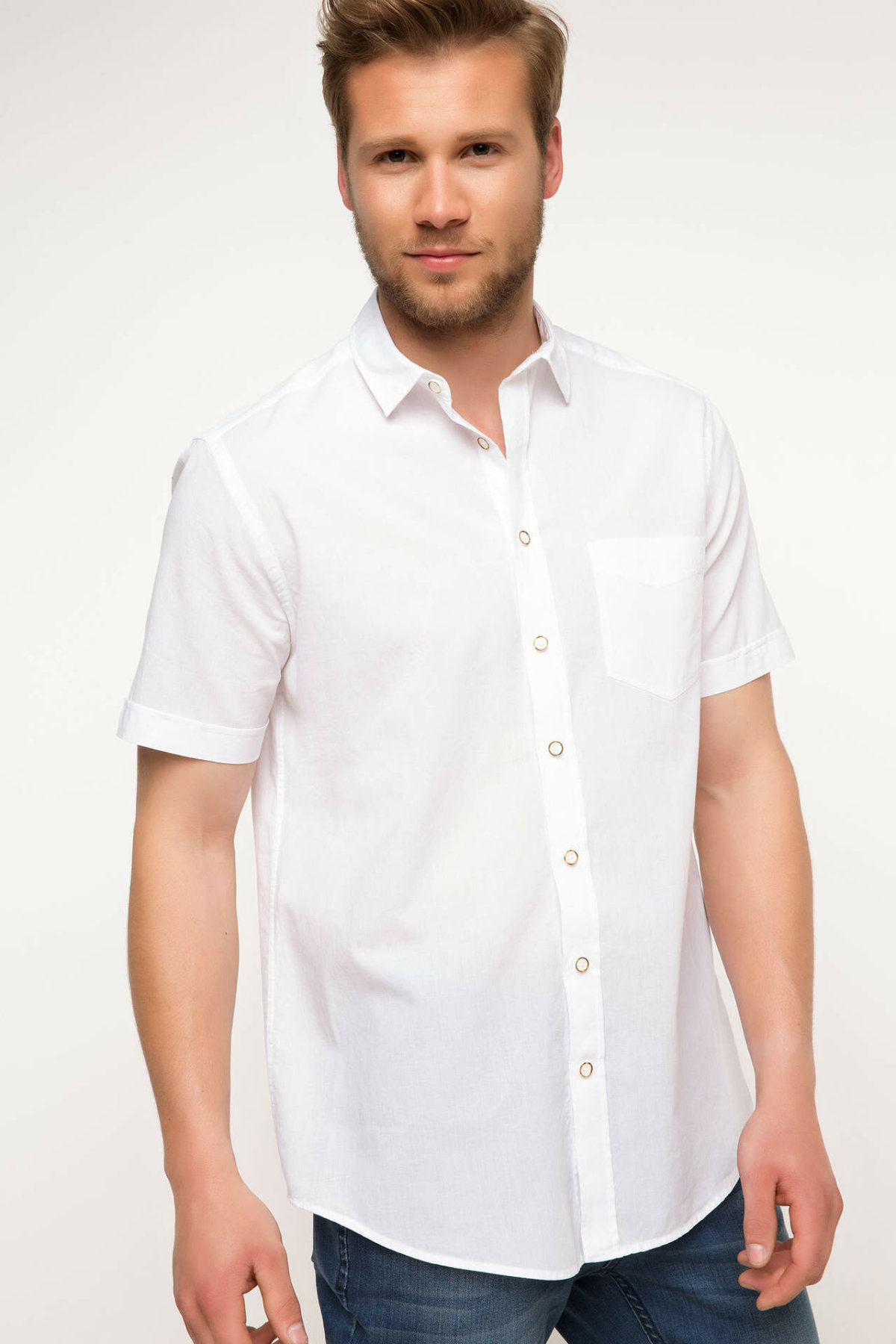 DeFacto Men Formal White Shirt Casual Woven Top Short Sleeve Shirt Office Business Wear Top Shirt New - G5882AZ17SM-G5882AZ17SM